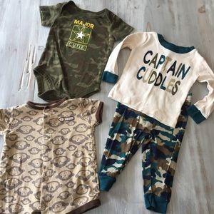 4 Lot 6-9 Months Camo Monkey Pajama Onesies